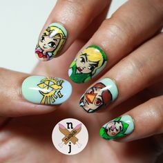 zelda nail art :-) I love this game! Zelda wind waker.