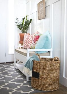 Picture Of cozy and simple farmhouse entryway decor ideas 25 Coastal Entryway, Entryway Decor, Coastal Decor, Entryway Bench, Entryway Furniture, Wall Decor, Apartment Decoration, Entrance Design, Colorful Pillows