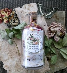 Botanical Bath Salts with ylang ylang and lavender   A perfect way to relax at the end of a long day! This botanical bath soak is full of skin soothing flowers including rose,  calendula and lavender.  It also includes the relaxing scent of ylang ylang and lavender essential oils to help soothe your soul.