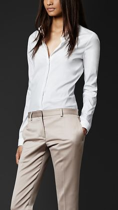 Stretch-Cotton Fitted Shirt | Burberry - PERFECT white shirt