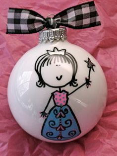 Princess Ornament  Hand Painted and by HappyYouHappyMe on Etsy, $14.00