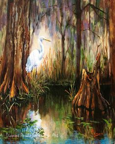 Louisiana Swamp with Heron, Egret in the Bayou, Moody Swamp Art, Wildlife Painting, Louisiana Impressionist Swamp Scene - 'The Surveyor' Wildlife Paintings, Wildlife Art, Landscape Paintings, Landscape Photos, Abstract Landscape, Abstract Art, Landscapes, Louisiana Swamp, Louisiana Art
