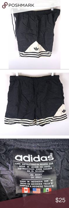 VTG mens Large Black Adidas soccer athletic shorts