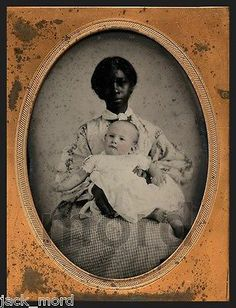 RARE SLAVE ERA 1850s 1/4 AMBROTYPE PHOTO AFRICAN AMERICAN NANNY & WHITE CHARGE 2