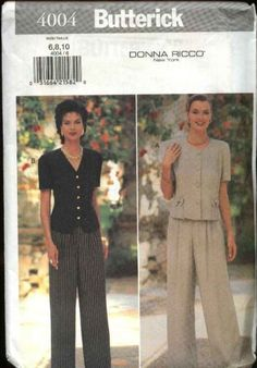 Butterick Sewing Pattern 4004 B4004 Misses Size 6-10 Easy Button Front Top Pants Donna Ricco    Butterick+Sewing+Pattern+4004+B4004+Misses+Size+6-10+Easy+Button+Front+Top+Pants+Donna+Ricco