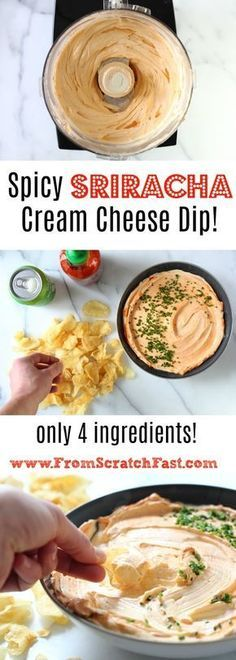 This utterly addicting spicy sriracha cream cheese dip is the ultimate party appetizer, and it comes together in just minutes! Warning: your guests won't want to leave the bowl. #superbowl #superbowlparty