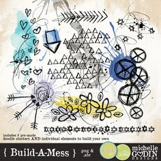 Build-a-Mess doodles and brushes by Michelle Godin at the Lilypad :: digital scrapbooking art journal watercolor