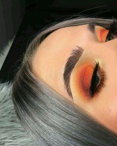 orange makeup bright makeup #EyeMakeupBlue Makeup Eye Looks, Cute Makeup, Glam Makeup, Gorgeous Makeup, Pretty Makeup, Skin Makeup, Eyeshadow Makeup, Eyeliner, Eyebrows