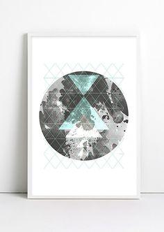 Moon Art Geometric decor Geometric Art Print ABSTRACT by Fybur, $12.00