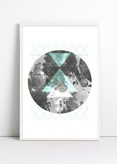 Moon Art Geometric decor Geometric Art Print ABSTRACT by Fybur, $12.00