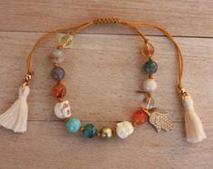Piedras preciosas pulsera Boho Bohemia pulsera por monroejewelry