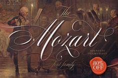 The Mozart Script by Blessed Print on @creativemarket. Price $20 #scriptfonts #handwrittenfonts #elegantfonts