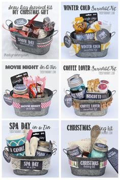 Gifts In A Tin ~ Some wonderful ideas! All 6 gift basket ideas come with free tags and labels, and a list of suggested items... Snow Day Survival Kit, Winter Cold Survival Kit, Movie Night in a Tin, Coffee Lover Survival Kit, Spa Day in a Tin, Christmas Baking Kit:
