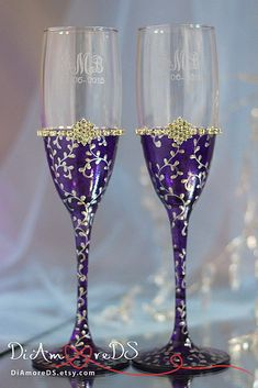Wedding champagne flutes plum & silver collection Art by DiAmoreDS