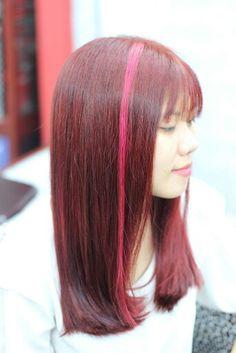 Nhuộm nâu đỏ tone sáng, phối 2light hồng xinh tươi luôn