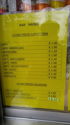 Coffee bar prices at Central station: Espresso for €1