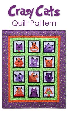 Crazy Cats Quilt Pattern for crazy cat lovers. 12 cats to delight you. Perfect for the cat lover, even if it's you. Crazy Cat Lady approved! Cat Quilt pattern. #affiliate #catquilt #quiltpattern