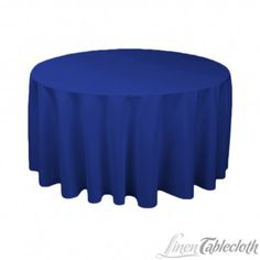 120 inch Round Polyester Tablecloth Royal Blue on a 60 inch Round Table