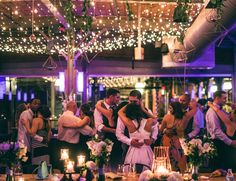 The Rickhouse sparkles with a twinkle and market light ceiling by Get Lit, Special Event Lighting.  Planner: C&D Events.  Vesic Photography