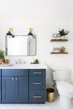 With so many colors to choose from, how do you narrow down the selection for your bathroom cabinets? Well if you ask us, blue is always a classic choice. Scroll on for nine blue bathroom cabinet ideas that'll convince you to take the plunge.
