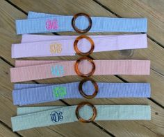 Monogrammed Seersucker Belts TinyTulip.com We're All About Personalization - Gifts Monogram Embriodery