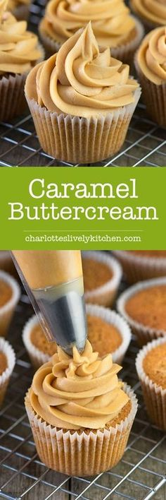 Caramel Buttercream Recipe: Easy to make delicious caramel buttercream in just a few minutes. Perfect for topping cupcakes, layer cakes or special celebration cakes. Cupcake Recipes, Baking Recipes, Cupcake Cakes, Dessert Recipes, Baking Cupcakes, Kitchen Recipes, Homemade Frosting Recipes, Pumpkin Cupcakes, Mini Cupcakes