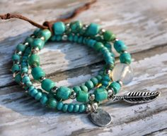 Turquoise Bracelets with Pewter Charms / Set of 3 by BeadRustic, $45.00
