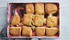 APPLE-BLACKBERRY POLENTA COBBLER -- sing frozen berries in desserts is a clever way to add flavor and vibrant color in colder months. Choose a mild honey, such as clover or orange blossom, to let the fruits shine. Apple Desserts, Just Desserts, Dessert Recipes, Fruit Dessert, Winter Desserts, Winter Recipes, Frozen Desserts, Sweet Desserts, Apple Recipes
