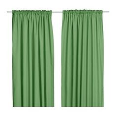 """IKEA curtains = Emerald City theme. Could be fun to put around an adult area (i.e. the microwave & mini-fridge) with a sign that says """"Pay no attention to the kitchen behind the curtain."""""""
