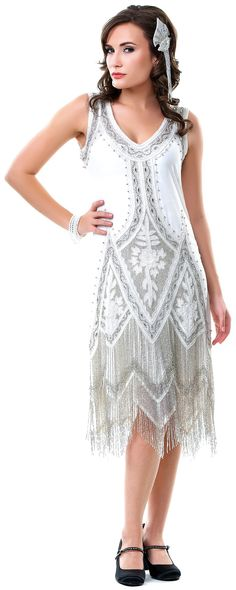 Cream & Platinum Embroidered Reproduction 1920's Flapper Dress - S to 2XL - Unique Vintage - Pinup, Holiday & Prom Dresses.