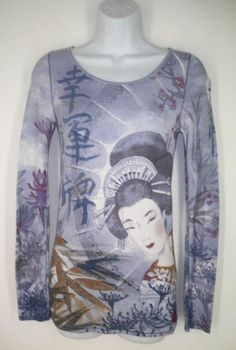 Lucky Brand Tee Shirt Top S Small Asian Japanese Geisha Landscape Waffle Knit