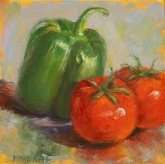 """Daily Paintworks - """"Bell Pepper with Tomatoes."""" - Original Fine Art for Sale - © Phyllis McAdams"""