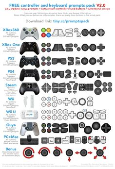 Free keyboard and console controllers prompts pack. Is it Xmas? Ui Buttons, Game Buttons, Home Basketball Court, Cloud Gaming, Button Game, Xbox One Controller, Digital Painting Tutorials, Ps4 Games, Game Ui