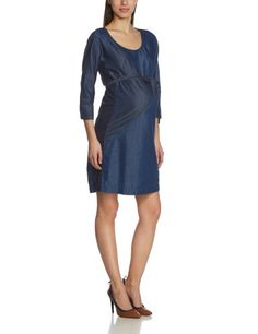 Mamalicious - Vestido premamá de manga corta para mujer, talla 38, color vaquero oscuro (dark blue denim)