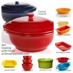Fiesta Bakeware - Covered Casserole, Bakers, Pie Dishes, Ramekin, more www.dinnerwareusa... #fiestaware