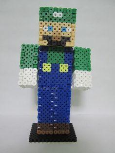 Luigi Minecraft Skin 3D_Perler Beads