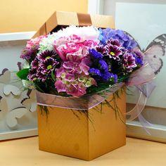Kutuda Renkli Mevsim Çicekleri  Kullanılan Malzemeler: Renkli Mevsim Çiçekleri ve Dekoratif Kutu