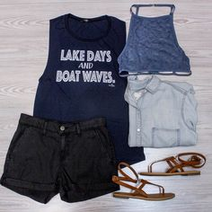 END OF SUMMER SALE!  Come see us this weekend for 40% 50% and 60% off select items. 20% off regular priced merchandise from 1-3PM Friday Saturday Sunday and Monday! All sales final. Excludes this weeks new arrivals. Not valid on previous purchases.  Lake Days and Boat Waves Muscle Tank $34. Now 40% off.  Lace Halter Bralette $18. Now 40% off. In store only.  Simply Basic Chambray $42. online  in-store.  Denim Daze Shorts $54. Now 40% off. In store only.  Wrap Sandal In Chestnut NOW $15.20…