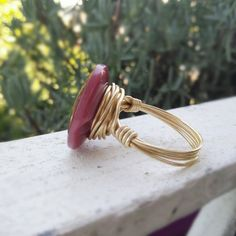 Makeforgood Mandala Ring Maroon Ring Mandala by MoonstoneandIndigo