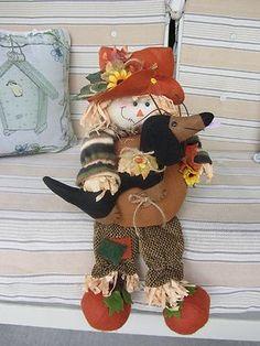 Harvest Pumpkin Scarecrow  Black  Tan Dachshund Detailed Autumn Decoration!