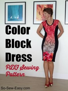 Color Block Dress - ($5.95) - Love the hourglass shape!  I saw another version that was black sides and black pattern center which looked really great too.