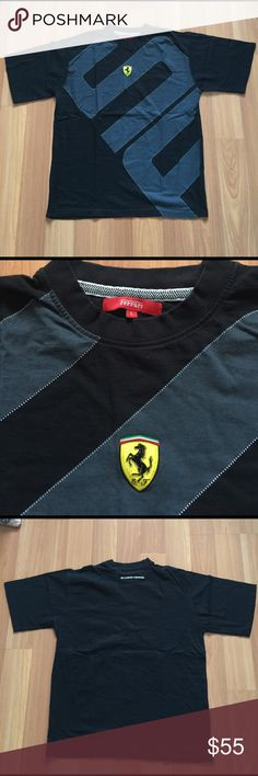 Men's Authentic Ferrari T-shirt  Black and grey Men's Authentic Ferrari T-shirt  Black with SCUDERIA SHIELD ON FROM EXCELLENT CONDITION Ferrari Shirts Tees - Short Sleeve