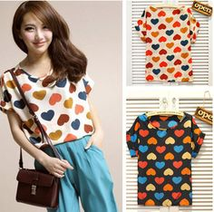 Heart Shaped Print Chiffon Casual Crew Neck Short Sleeve Lady T Shirt TOP Blouse   eBay