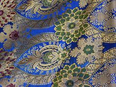 Indian Fabric, Blue Brocade by the Yard, Silk Brocade Fabric, Banaras Silk Wedding Dress Banarasi Fabric, Dressess Crafting Fabric