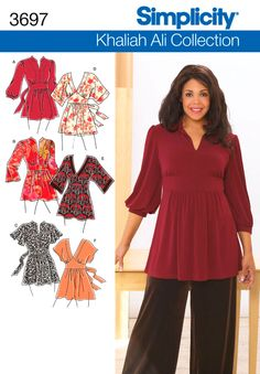 3697 Plus Size Tops Plus Size Khailah Ali Collection knit or woven tunic and top sewing pattern.