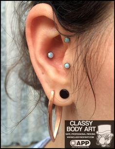 4mm conch, 3mm tragus and helix