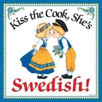 Swedish Gift Idea Tile: Kiss Swedish Cook..