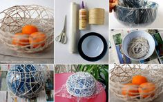 Rope, glue, wrapping paper and a balloon center piece Cute Crafts, Crafts For Kids, Diy Crafts, Craft Tutorials, Craft Ideas, Diy Ideas, Ideas Para, Creative Ideas, Party Ideas