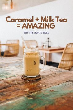 Make delicious and creamy caramel milk tea right at home. 4 Simple steps to make caramel milk tea. Caramel Milk Tea Recipe, Milk Tea Recipes, Coffee Drink Recipes, Coffee Drinks, How To Make Boba, Black Tea Bags, How To Make Caramel, Tea Cocktails, Bubble Tea