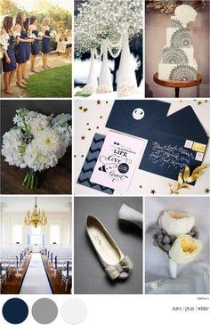 Navy, grey, & white wedding colors